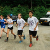 Runners from local high school joined together to kick off the Gardner Relay for Life on Friday, June 9, 2017. Athletes carried a torch from Leominster, through to Lunenburg, to Fitchburg and finally onto Gardner. Runners from Leominster, Maeve O'Malley, Ally Gagne, Nick Malm and Jaydon Kinuthia arrive at Cherry Hill to pass it off to Lunenburg. SENTINEL & ENTERPRISE / Ashley Green