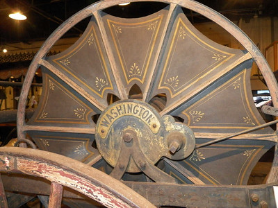 decorative details on 1900 hose cart