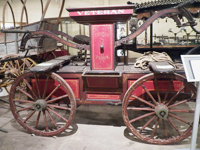Fire pumper built for the Reading Veteran's Fire Association by an unknown maker in Reading, Pennsylvania, circa 1870. It was pulled by 8 firemen using a rope harness, not by a horse, allowing them to quickly get to nearby fires without having to spend time harnessing up a horse.
