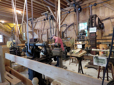 woodshop with old lathes