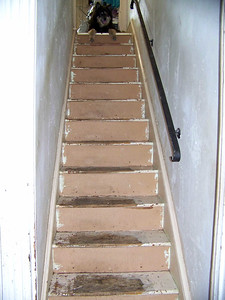 my stairs, after I ripped up the carpet and tore down the wallpaper, April 2010