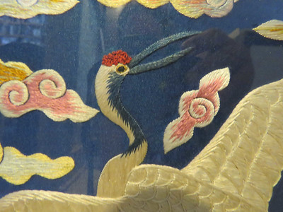 close-up of embroidered art, from a thrift shop, June 2016