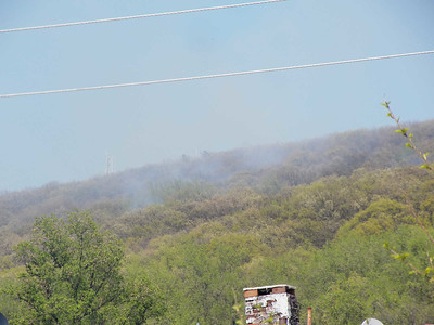 smoke from a fire on Mt Penn, May 8, 2014
