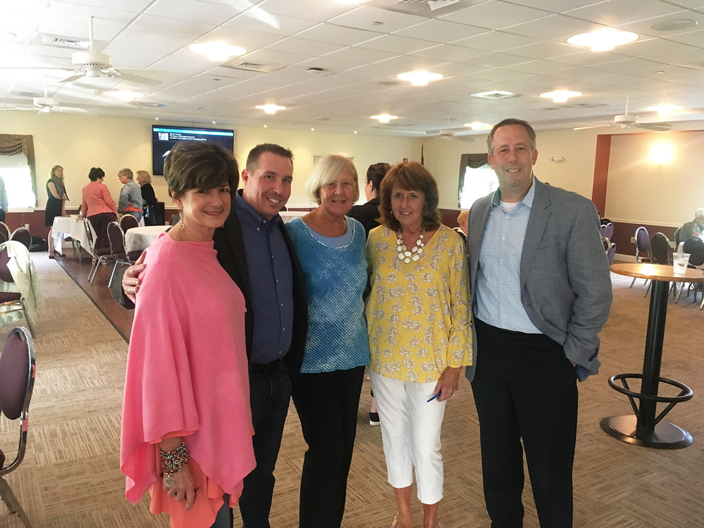 . From left, Kim Keefe of Lowell, YMCA President Kevin Morrissey of Chelmsford, Betty Dick and Margie Miller of Lowell, and Chris Dick of Tewksbury