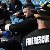 KRISTI GARABRANDT - THE NEWS-HERALD<br /> <br /> Mike Fier, Paramedic student from Lakeland College is being accessed and triage by Eastlake firefighters during mass casualty training