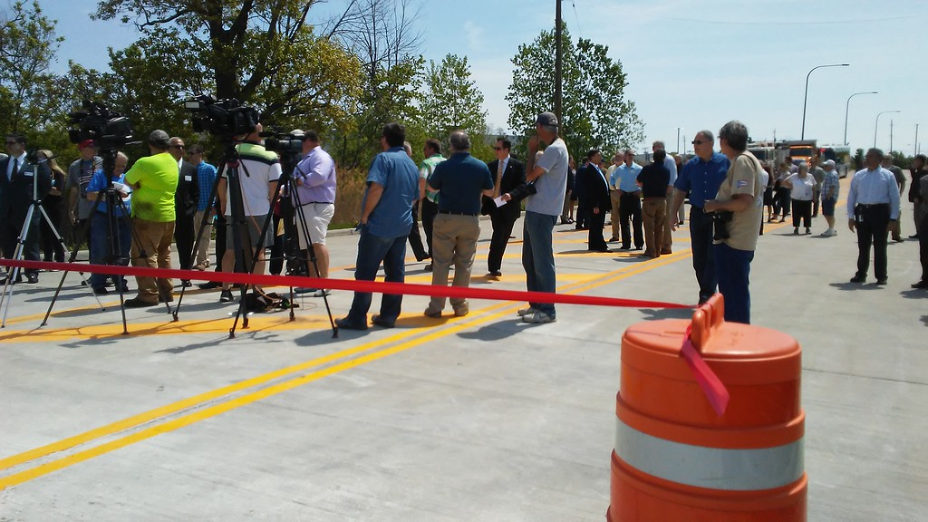 . The Plaza Boulevard extension in Mentor officially opened May 17, drawing city officials and employees as well as some Lake County representatives. {Betsy Scott-The News-Herald}