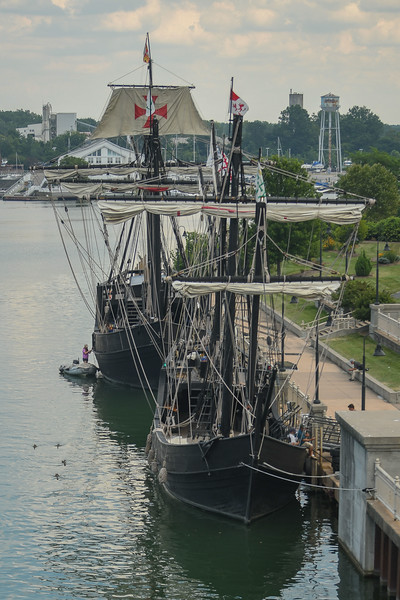 """Eric Bonzar—The Morning Journal<br /> Replicas of Christopher Columbus' """"Nina"""" and """"Pinta"""" caravel sailing ships docked at Lorain's Black River Landing, Aug. 2, 2017. The ships will open to the general public, Aug. 3, for self-guided tours from 9 a.m. to 6 p.m., daily, through Aug. 8. Admission is $8 for adults, $7 for senior citizens and $6 for students between the ages of 5 and 16 years old. Children under 4 are free. No reservations are necessary."""