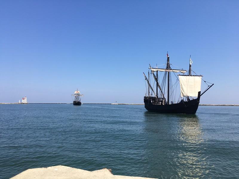 The Tall Ships Pinta and Nina arrive in Lorain. {Richard Payerchin-The Morning Journal}