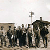 """Historic photo provided by North Ridgeville Historical Society <br> Track section workers or """"gandy dancers"""" posing about 1915 on the Lake Shore & Michigan Southern Railroad tracks (later the New York Central Railroad) near the Shawville passenger and freight station at the crossing on Center Road, or Station Road (later called Avon-Belden Road or Route 83). The Shawville station was named for the Samuel Shaw family who lived nearby, and some of whom worked at the station, which was in operation from about 1852 to 1950. Route 83 now has an overpass which goes up and around the site of the old station."""