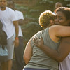 """Eric Bonzar—The Morning Journal<br /> Nachelle Dukes, right, receives a hug after getting word of her son, Stephen """"Antonio"""" Dukes' death, Aug. 5, 2016."""