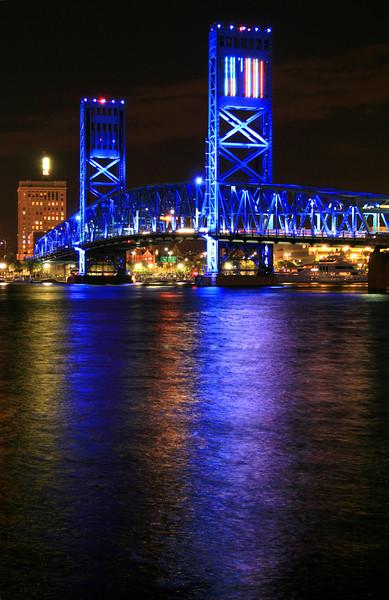 The Main Street Bridge in Downtown Jacksonville at night