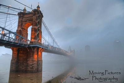 Roebling Suspension Bridge into the fog