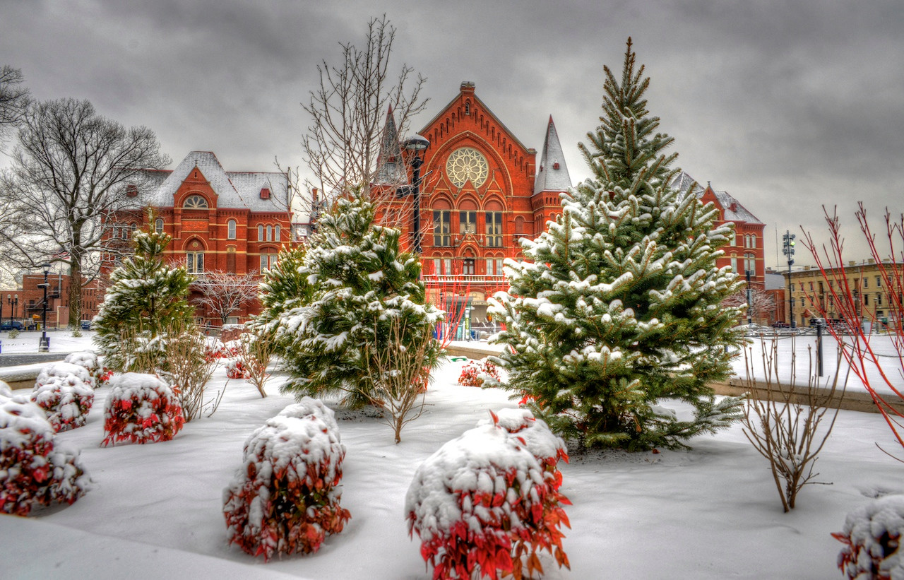 Music Hall and snow