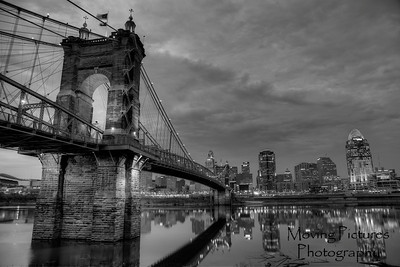 Roebling Suspension Bridge - black & white
