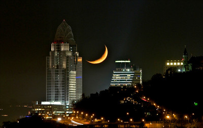 Moonset at Great American Tower