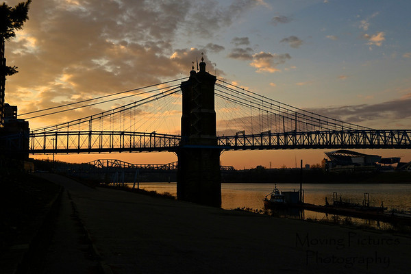 Roebling Suspension Bridge in silhouette
