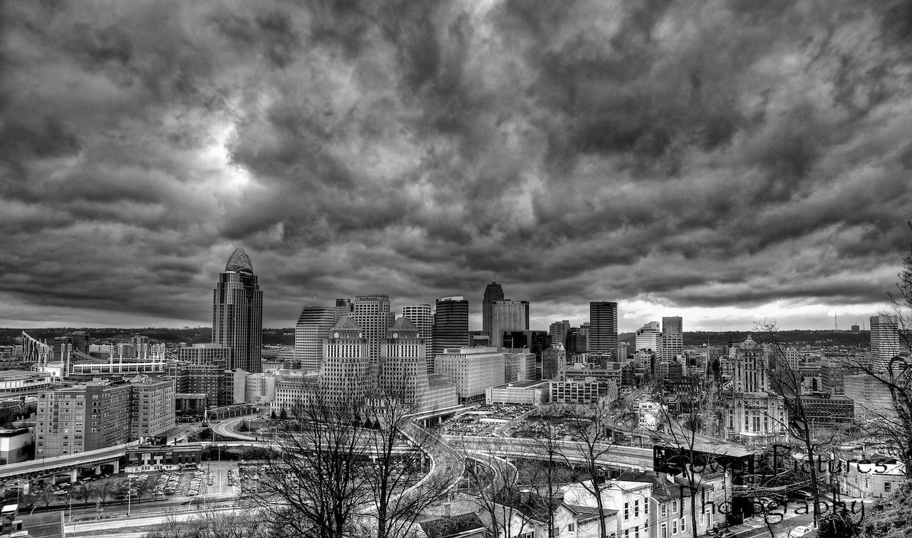 Dramatic sky - from Mt. Adams - black & white