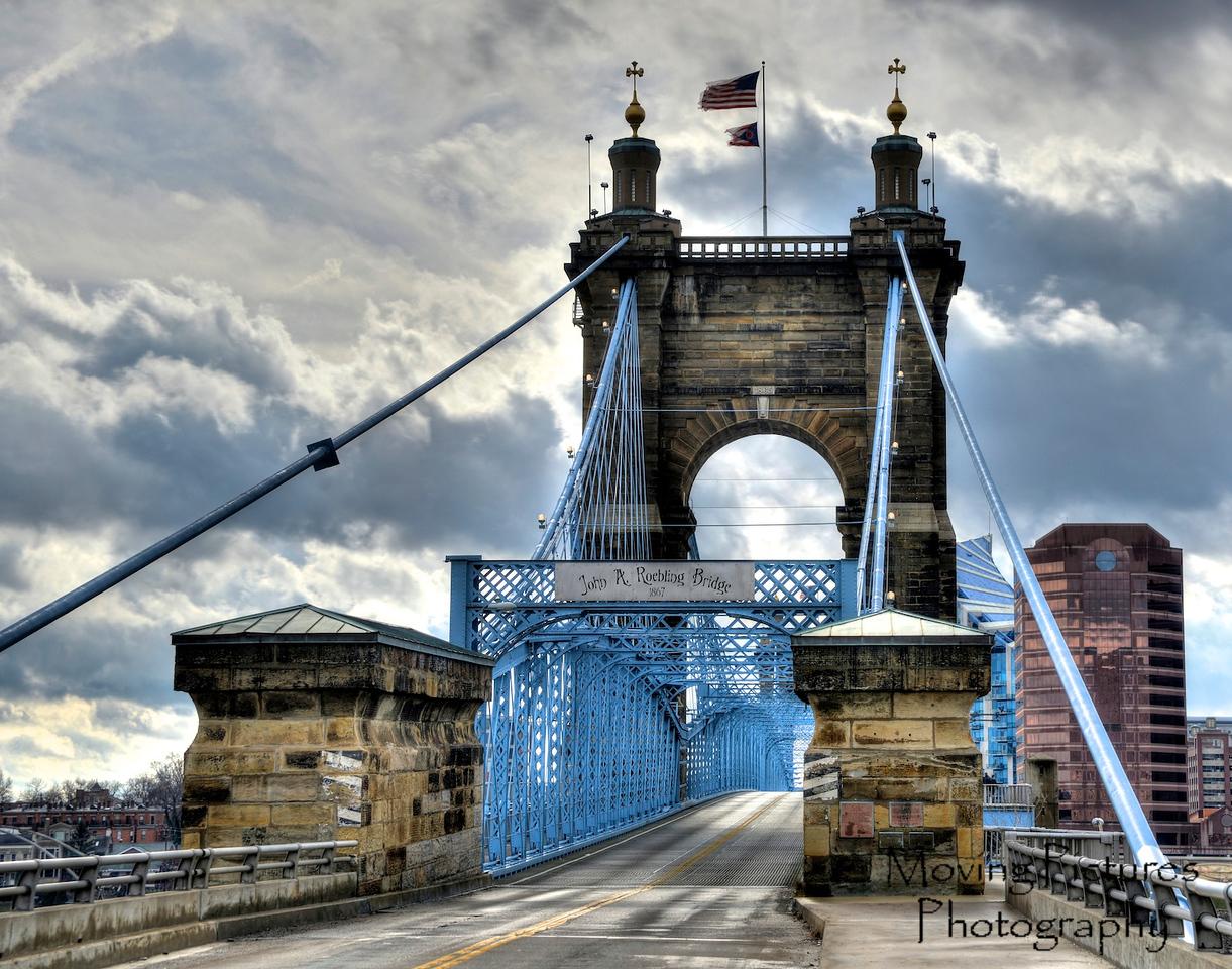 Roebling Suspension Bridge - dramatic sky