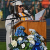Eric Bonzar—The Morning Journal<br /> Valedictorian Jazmin Rivera speaks to her fellow graduating classmates during the 2015-16 Lorain High School commencement ceremony, May 24, 2016.