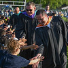 Eric Bonzar—The Morning Journal<br /> Tony Dimacchia, Lorain Board of Education vice president, foreground, and Lorain City Schools Superintendent Dr. Jeffery Graham give fives to the class of 2028, May 24, 2016. The kindergartners attended the 2015-16 commencement ceremony to get a glimpse of their future and to congratulate the class of 2016.