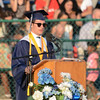 Eric Bonzar—The Morning Journal<br /> Salutatorian Brandon Bartlome speaks to his fellow graduating classmates during the 2015-16 Lorain High School Commencement Ceremony, May 24, 2016.
