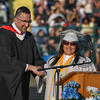 Eric Bonzar—The Morning Journal<br /> Lorain High School Principal Robert Klinar introuduces Valedictorian Jazmin Rivera during the 2015-16 Lorain High School commencement ceremony, May 24, 2016.