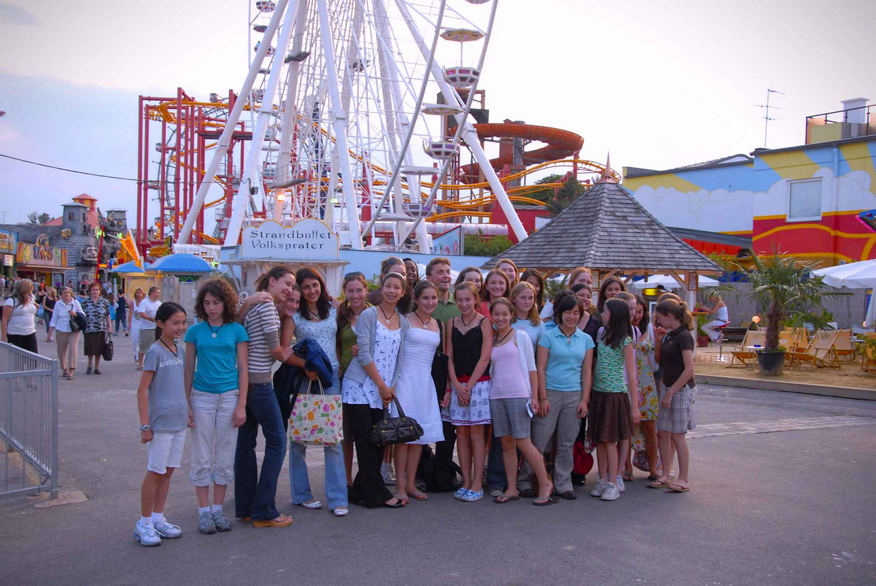 The girls pose for a last farewell photo with Andrej in front of the famous Ferris wheel at the Prater in Vienna (immortalized in the film The Third Man)