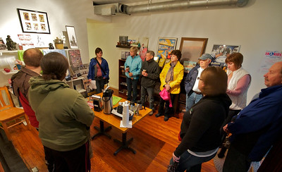 Roebling Point Bookstore - the group gathered for Leah's history of the buildings
