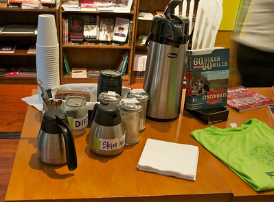 Roebling Point Bookstore - setup for coffee for our tour