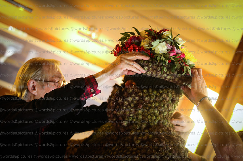 2017 FERRY FAIR The Burryman, preparations at & departure from The Staghead Hotel. First drink at the Provost's House. Image © Words & Pictures.