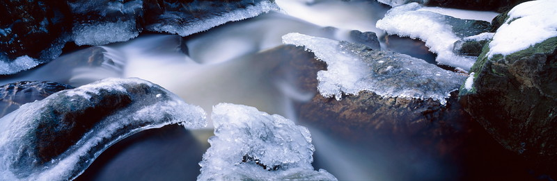 Water flowing over ice covered rocks