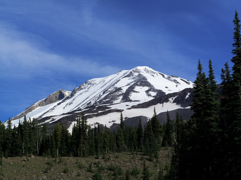 Hiking the Round-the-Mountain Trail, there are great views of Mount Adams