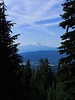 """Mount Hood seen from Mount Adams, with """"stars"""" formed by contrails overhead"""