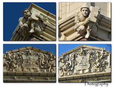 Gargoyle and frieze - before & after comparison