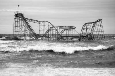 This NJ roller coaster was tossed into the ocean during hurricane Sandy.  It, and many of the homes in the area have been left untouched since the storm.  It is just one symbol (and a pretty good one) of the massive damage experienced that day.  Locally this sight is very familiar but beyond the Northeast it might not be as common.