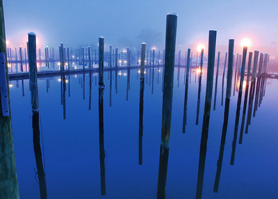An empty marina at dusk