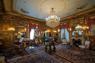 Laurel Court - Music room with view of grand fireplace