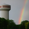 water tower and rainbow