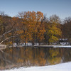 swimming hole snow in fall