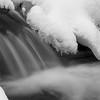 winter waterfall bw