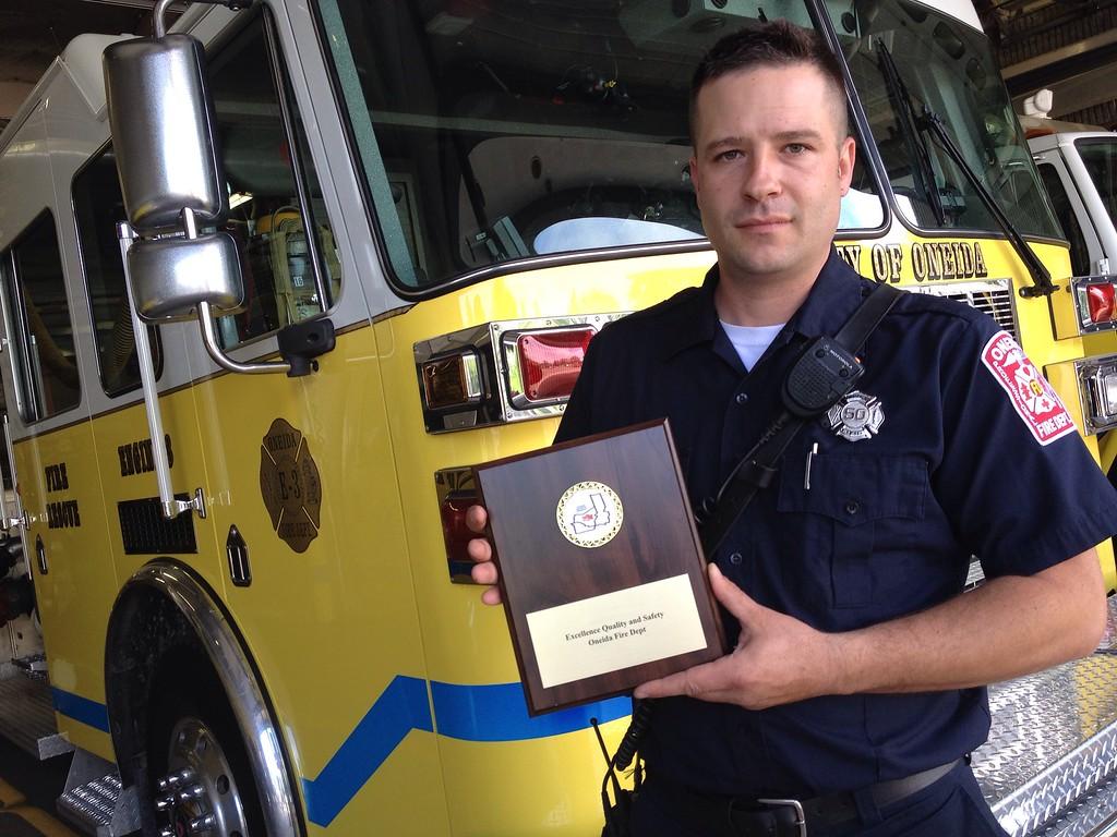 . Marcel Jeffrey of the Oneida Fire Department on Thursday, May 28, 2015 . JOHN HAEGER-ONEIDA DAILY DISPATCH @ONEIDAPHOTO ON TWITTER