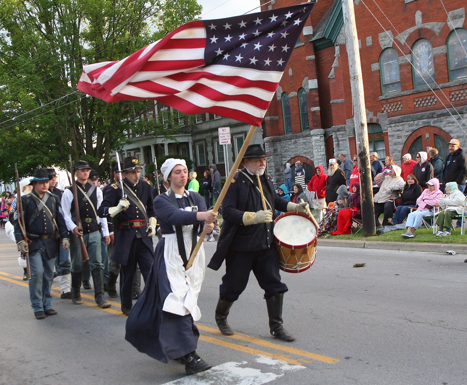 . Civil War reenactor way along Main Street in the city of Oneida during the Memorial Day parade on Friday. May 22, 2015. route JOHN HAEGER-ONEIDA DAILY DISPATCH @ONEIDAPHOTO ON TWITTER