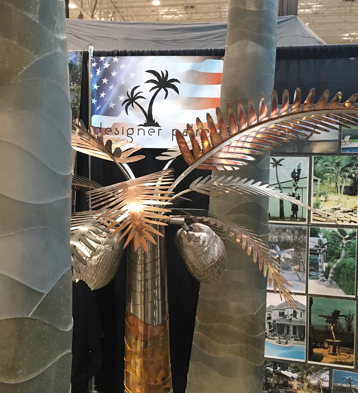 . Life-size palm tree sculptures, Designer Palms Inc. display