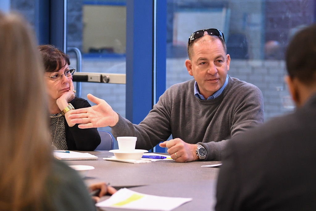 . Eric Bonzar�The Morning Journal<br> Jay Pickering, president of Lorain Education Association, participates in his first breakout session and Community Business Schools partnership meeting, Feb. 21, 2018.