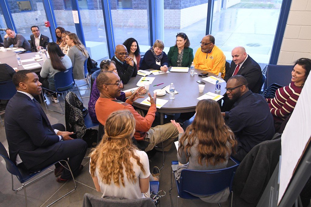 . Eric Bonzar�The Morning Journal<br> Breakout sessions broken down to focus on each of Lorain City Schools\' commitments spark dialogue and ideas during the district\'s Community Business Schools partnership meeting, Feb. 21, 2018.