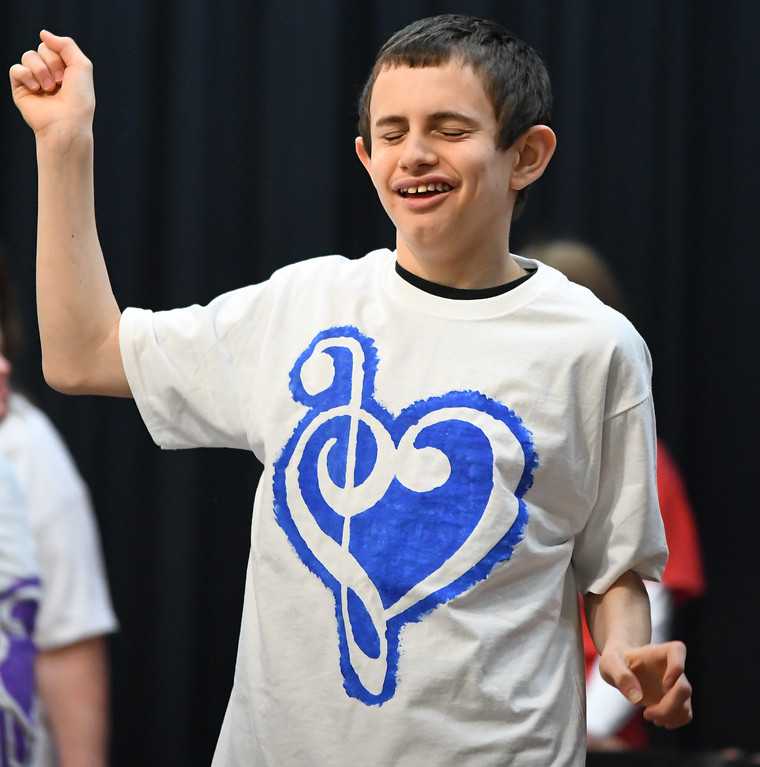 . Eric Bonzar�The Morning Journal Murray Ridge student Jacob Gladding dances during the school\'s fifth annual talent show, March 29, 2017.