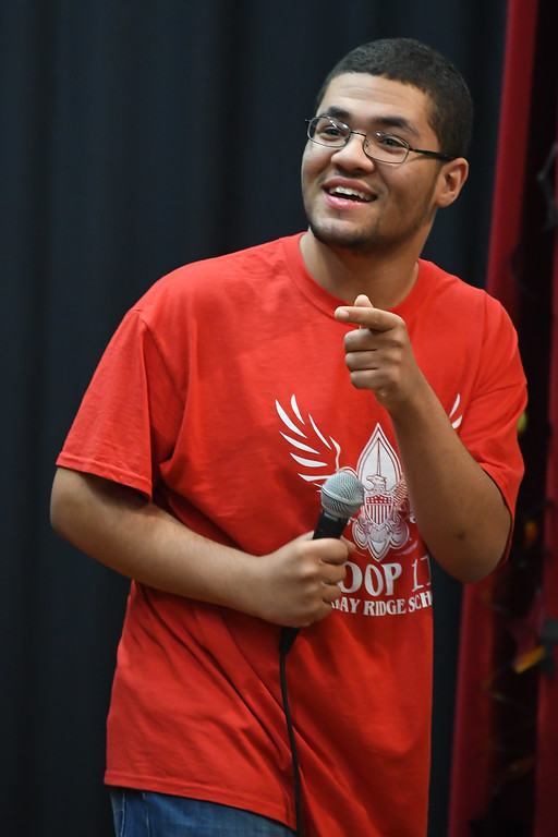 ". Eric Bonzar�The Morning Journal Murray Ridge student Shaun Tidmore sings ""Ice Ice Baby\"" during the school\'s fifth annual talent show, March 29, 2017."