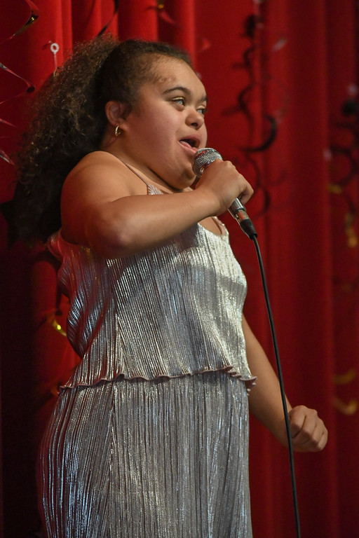". Eric Bonzar�The Morning Journal Seventeen-year-old senior student Deja Sherman sings ""I Will Survive\"" during Murray Ridge School\'s fifth annual talent show, March 29, 2017."