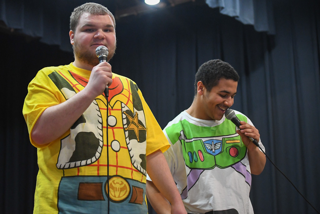". Eric Bonzar�The Morning Journal Murray Ridge students Zachary Mutnansky, left and Sam DiCello sing ""You\'ve Got a Friend in Me,\"" from the Disney-Pixar film Toy Story, during the school\'s fifth annual talent show, March 29, 2017."