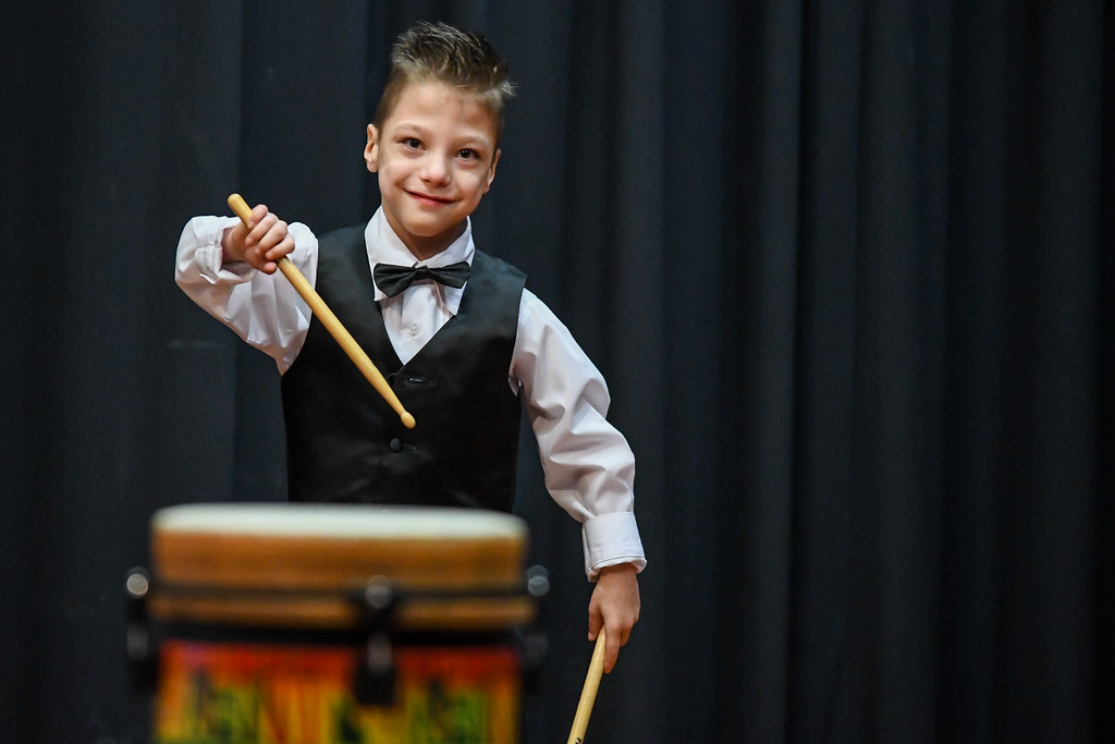 . Eric Bonzar�The Morning Journal Six-year-old T.J. Nagy performs a drum solo, for guests of Murray Ridge School\'s fifth annual talent show, March 29, 2017.